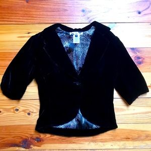 Lily Black Velvet One-Button Cropped Jacket, EUC S